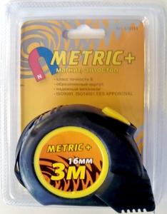 """Рулетка 3м/16мм """"Metric+"""" с автостопом и магнитом"""