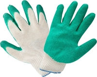 Перчатки зеленые, одинарный облив